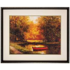 "Lonely Boat Framed Print 35"" Wide Wall Art"