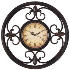 "Antique Bronze Scrolls Metal 13"" Wide Wall Clock"