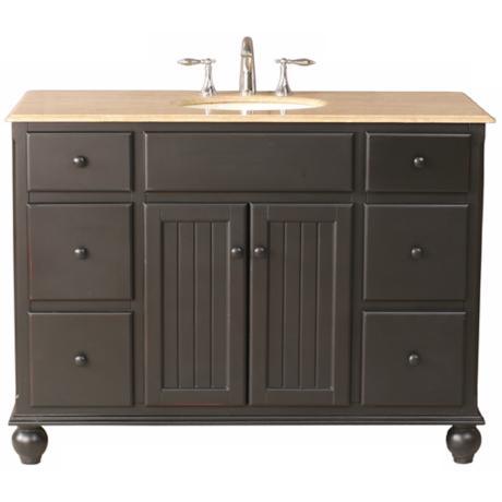 Alvina Travertine Marble Single Sink Vanity