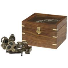 Brass Sextant in Wooden Case