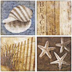 Set of 4 Seaside Canvas Prints Wall Art
