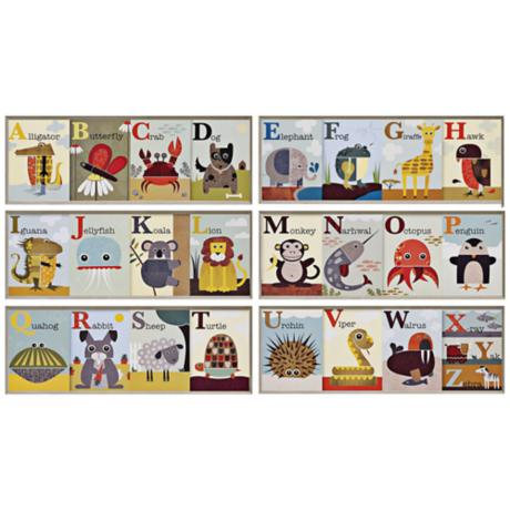 Set of 6 Alphabet Zoo Framed Wall Art