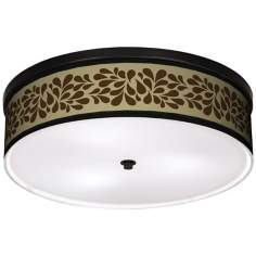 "Brown Splash On Tan 20 1/4"" Wide CFL Bronze Ceiling Light"