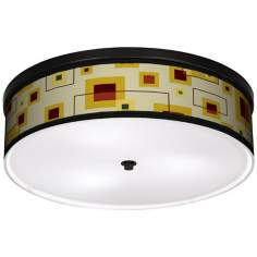 "Windows 20 1/4"" Wide CFL Bronze Ceiling Light"