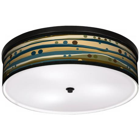 "Dots & Waves 20 1/4"" Wide CFL Bronze Ceiling Light"