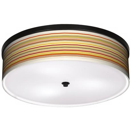 "Stacy Garcia Lemongrass Stripe 20 1/4"" Bronze Ceiling Light"
