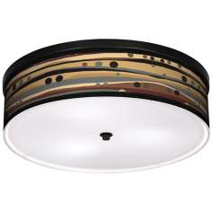 "Natural Dots & Waves 20 1/4"" Wide CFL Bronze Ceiling Light"