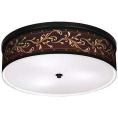 "Athenian Leaf 20 1/4"" Wide CFL Bronze Ceiling Light"