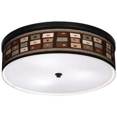 "Retro Rectangles 20 1/4"" Wide CFL Bronze Ceiling Light"