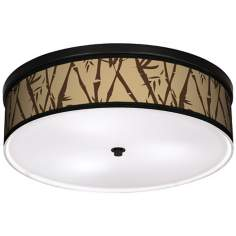 "Earth Bamboo 20 1/4"" Wide CFL Bronze Ceiling Light"