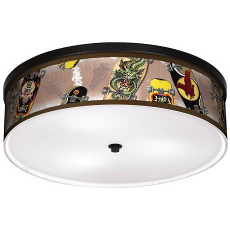 "Skateboard Mania 20 1/4"" Wide CFL Bronze Ceiling Light"