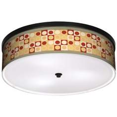 "Retro Dotted Squares 20 1/4"" Wide CFL Bronze Ceiling Light"