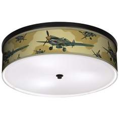 "Flying Tigers 20 1/4"" Wide CFL Bronze Ceiling Light"