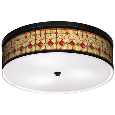 "Tiffany Reds 20 1/4"" Wide CFL Bronze Ceiling Light"
