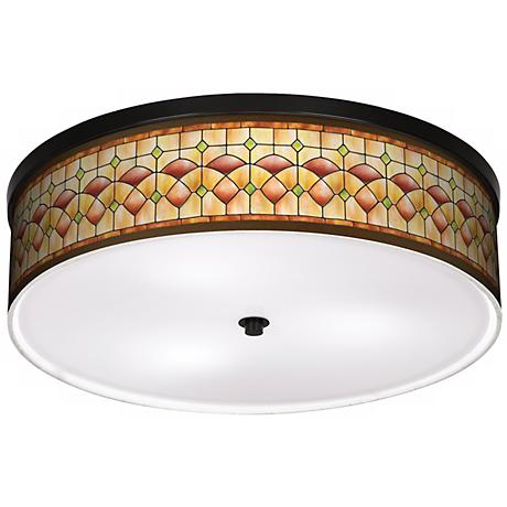 "Tiffany Ochre 20 1/4"" Wide CFL Bronze Ceiling Light"