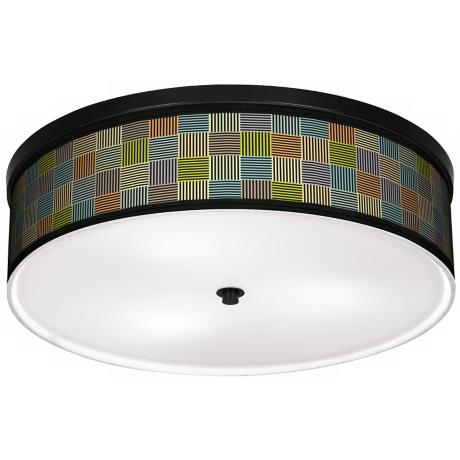 "Pixel City 20 1/4"" Wide CFL Bronze Ceiling Light"