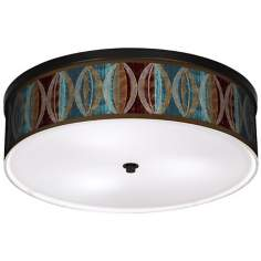 "Stacy Garcia Pearl Leaf Peacock 20 1/4"" Wide Ceiling Light"