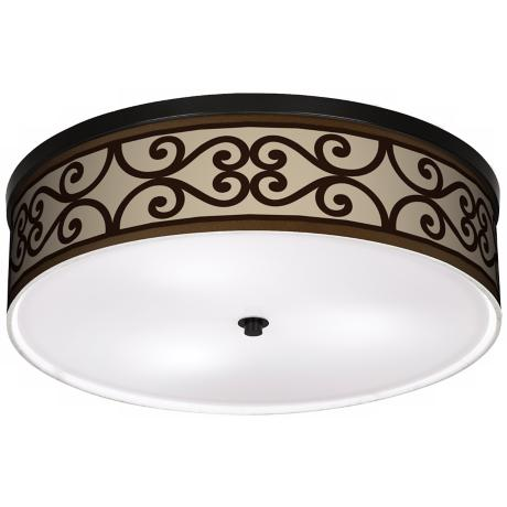 "Cambria Scroll 20 1/4"" Wide CFL Bronze Ceiling Light"