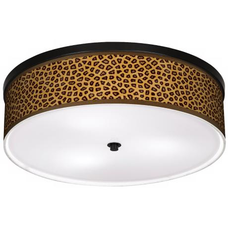 "Safari Cheetah Giclee 20 1/4"" Wide CFL Bronze Ceiling Light"