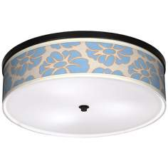"Floral Blue Silhouette 20 1/4"" Wide CFL Bronze Ceiling Light"