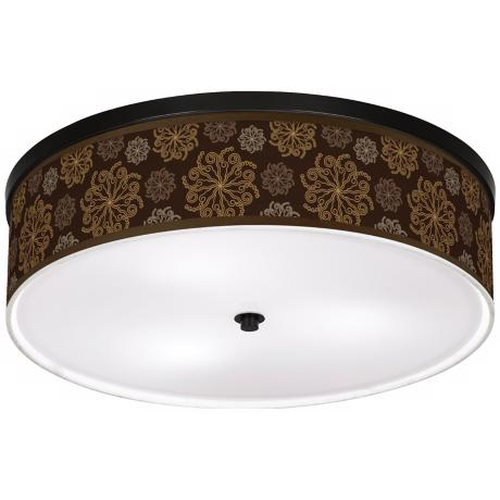 "Chocolate Blossom Linen 20 1/4"" Wide CFL Ceiling Light"