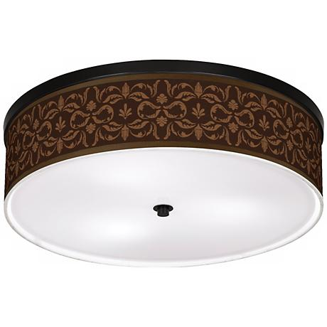 "Mocha Flourish Linen 20 1/4"" Wide CFL Ceiling Light"