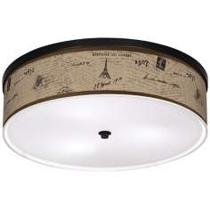 "Letters To Paris Linen 20 1/4"" Wide CFL Ceiling Light"