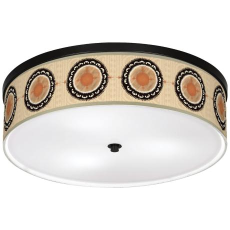 "Traverlers Compass 20 1/4"" Wide CFL Nickel Ceiling Light"
