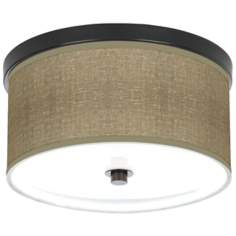 "Burlap Print 10 1/4"" Wide Bronze Ceiling Light"
