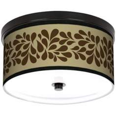 "Brown Splash On Tan 10 1/4"" Wide CFL Bronze Ceiling Light"