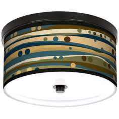 "Dots & Waves 10 1/4"" Wide CFL Bronze Ceiling Light"