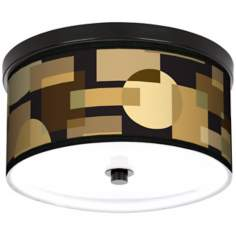 "Earthy Geometrics 10 1/4"" Wide CFL Bronze Ceiling Light"