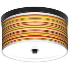 "Harvest Stripe 10 1/4"" Wide CFL Bronze Ceiling Light"