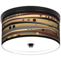 "Natural Dots and Waves 10 1/4"" Wide CFL Bronze Ceiling Light"