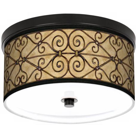 "Trellis Hearts 10 1/4"" Wide CFL Bronze Ceiling Light"