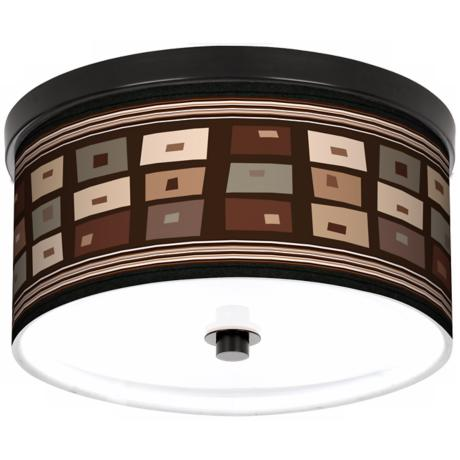 "Retro Rectangles 10 1/4"" Wide CFL Bronze Ceiling Light"