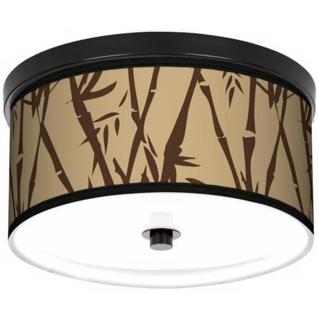"Earth Bamboo 10 1/4"" Wide CFL Bronze Ceiling Light"