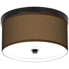 "Khaki 10 1/4"" Wide CFL Bronze Ceiling Light"