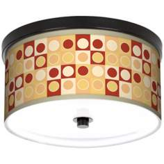 "Retro Dotted Squares 10 1/4"" Wide CFL Bronze Ceiling Light"