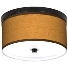 "Wood Grain 10 1/4"" Wide CFL Bronze Ceiling Light"