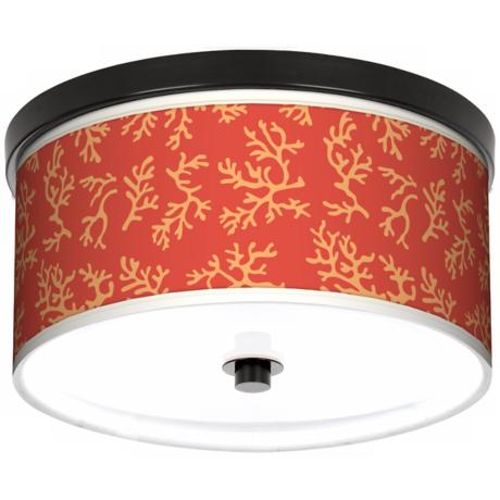 "Tangerine Coral 10 1/4"" Wide CFL Bronze Ceiling Light"