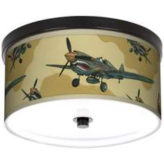 "Flying Tigers 10 1/4"" Wide CFL Bronze Ceiling Light"