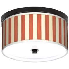 "Seaside Stripe Red 10 1/4"" Wide CFL Bronze Ceiling Light"
