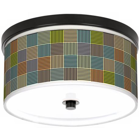 "Pixel City 10 1/4"" Wide CFL Bronze Ceiling Light"