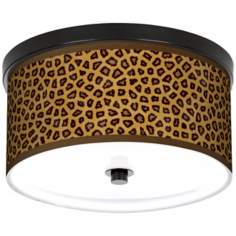 "Safari Cheetah Giclee 10 1/4"" Wide CFL Bronze Ceiling Light"