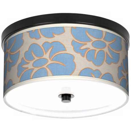 "Floral Blue Silhouette Giclee 10 1/4"" Wide Ceiling Light"