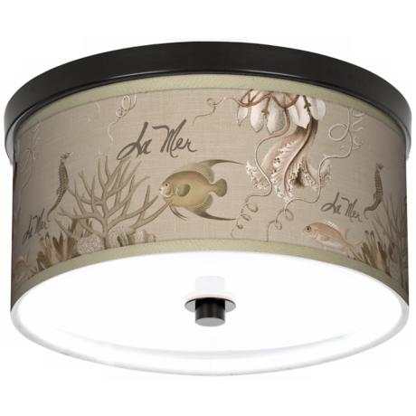 "La Mer Jellyfish Giclee 10 1/4"" Wide Bronze Ceiling Light"