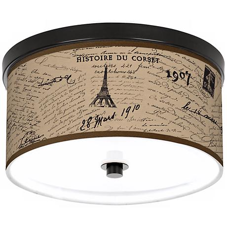 "Letters To Paris Linen 10 1/4"" Wide CFL Ceiling Light"