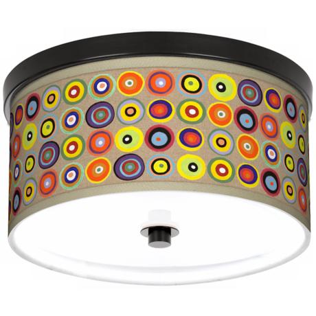 "Marbles in the Park Giclee Bronze 10 1/4"" Wide Ceiling Light"