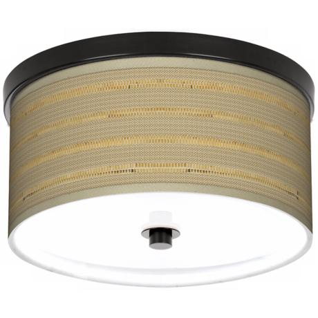 "Woven Reed Giclee Bronze 10 1/4"" Wide Ceiling Light"